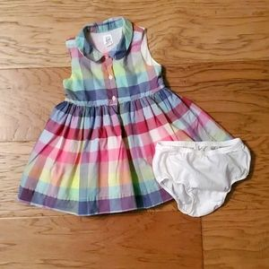 Gap Summer Dress Plaid Collar Sleeveless Spring